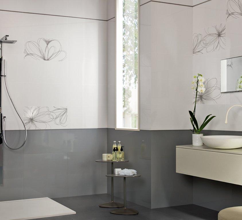 Pavimenti e rivestimenti per il tuo bagno armonie ceramiche - Piastrelle grigie bagno ...