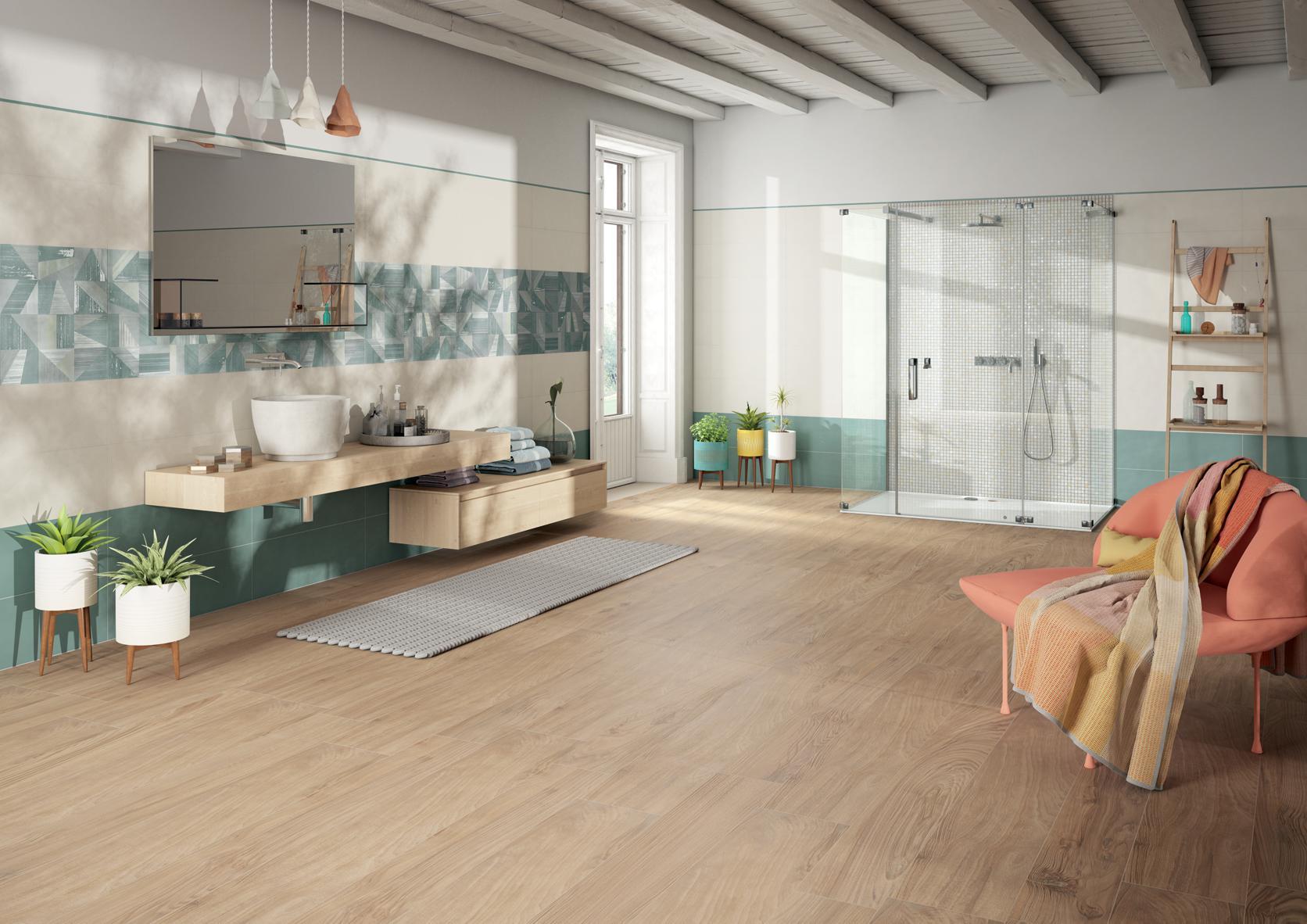 Pavimenti e rivestimenti per il tuo bagno armonie ceramiche - Piastrelle bagno legno ...